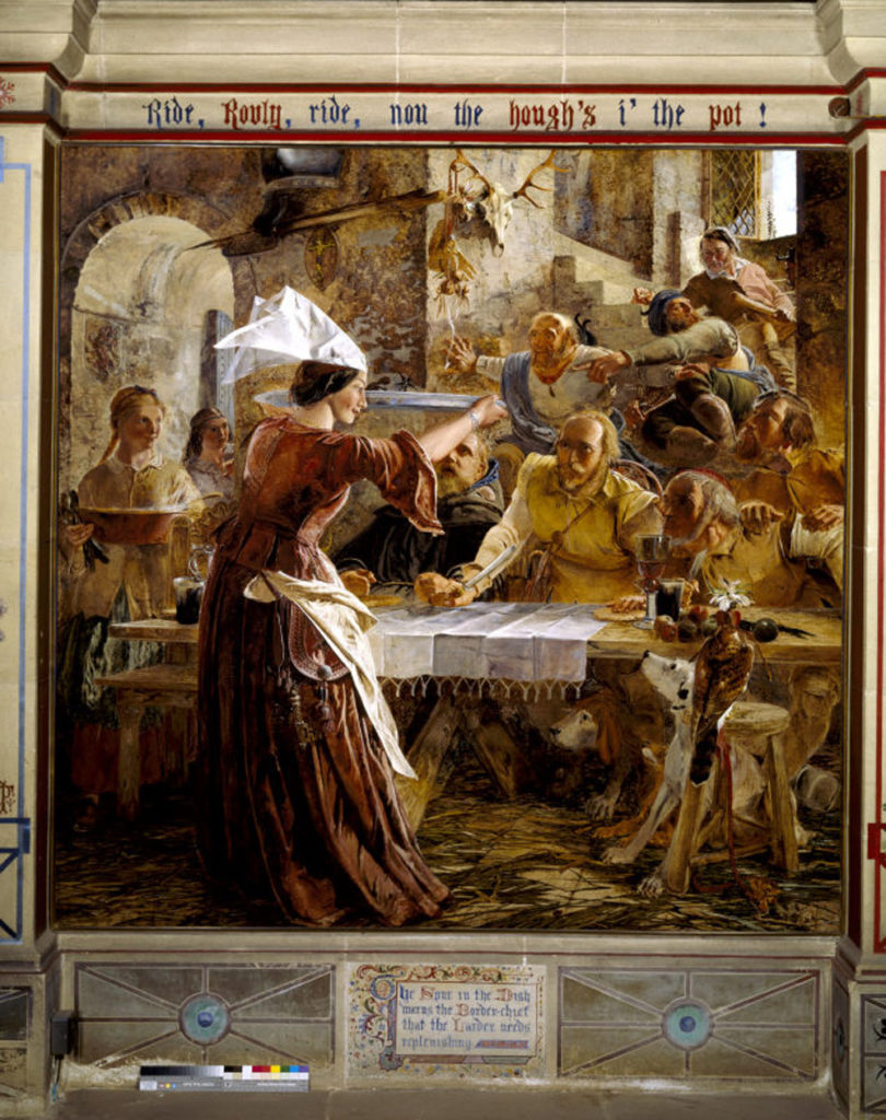 A section of William Bell Scott's Mural at Wallington. Showing a woman providing food for a group of men