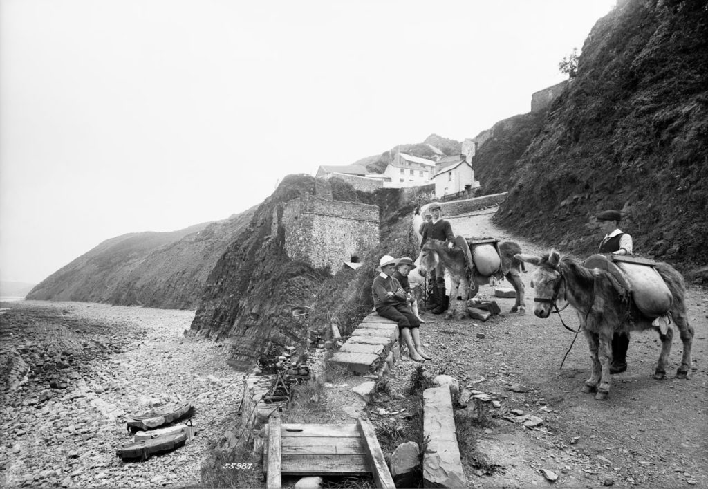 historic photograph of row of houses on a hill above a beach. In the foreground are two boys with donkeys and two boys sat on a wall