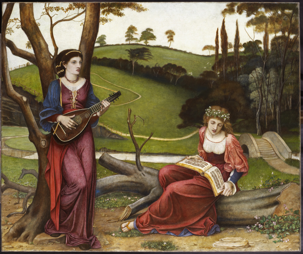 Two female figures in a pastoral idealised landscape with hills, trees, river, bridge, one standing, leaning against a tree, on the left, playing a stringed instrument (lute), and the other, singing whilst seated on a fallen tree trunk with music book on her lap.