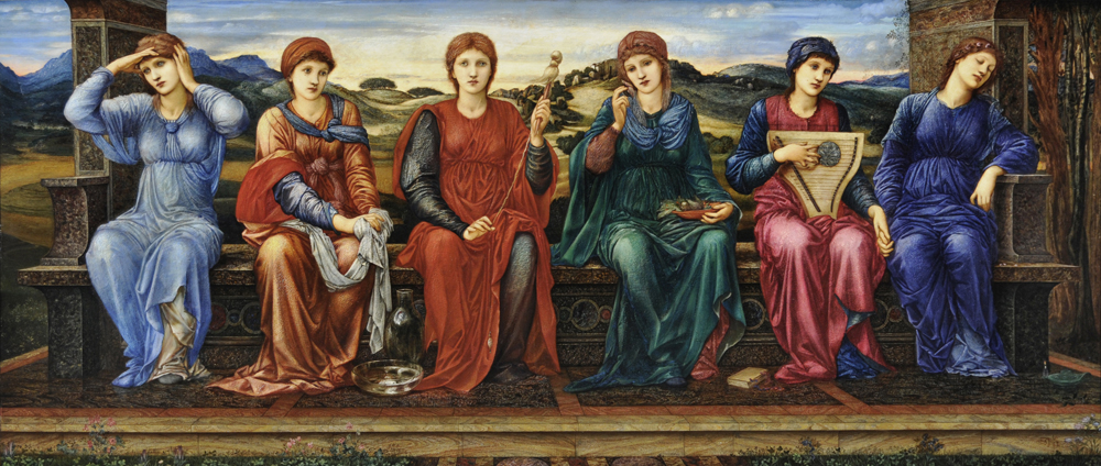 A painting showing 6 seated women, each dressed in a different colour to deomstrate the passing of hours in the day.