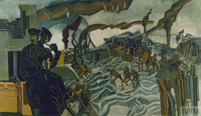 Painting showing three officers standing to the left of the composition beside a pile of ammunition boxes. Each looks in a different direction. One has his back to the viewer and looks out over the scene of the painting. There are marionette-like figures moving over broken ground, amongst the huts and shattered trees. Streams of stylised smoke erupts from incoming shells and spreads across the sky.