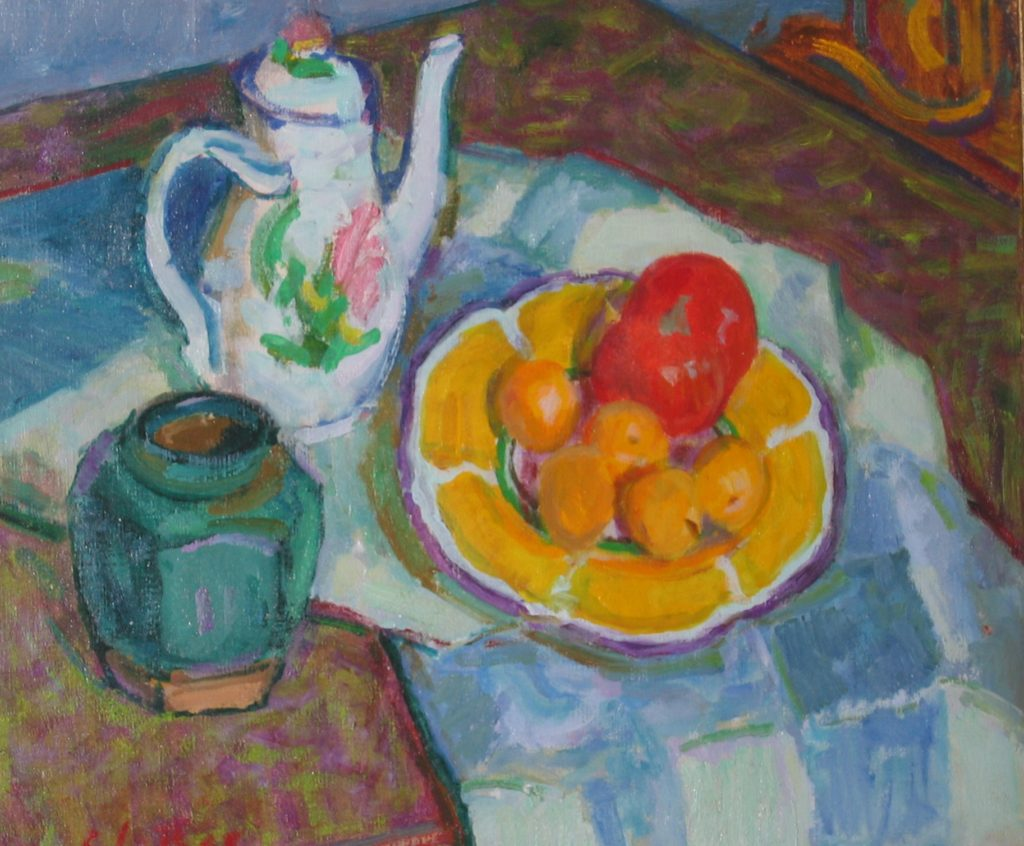 still life painting of coffee pot, pot and fruit on plate