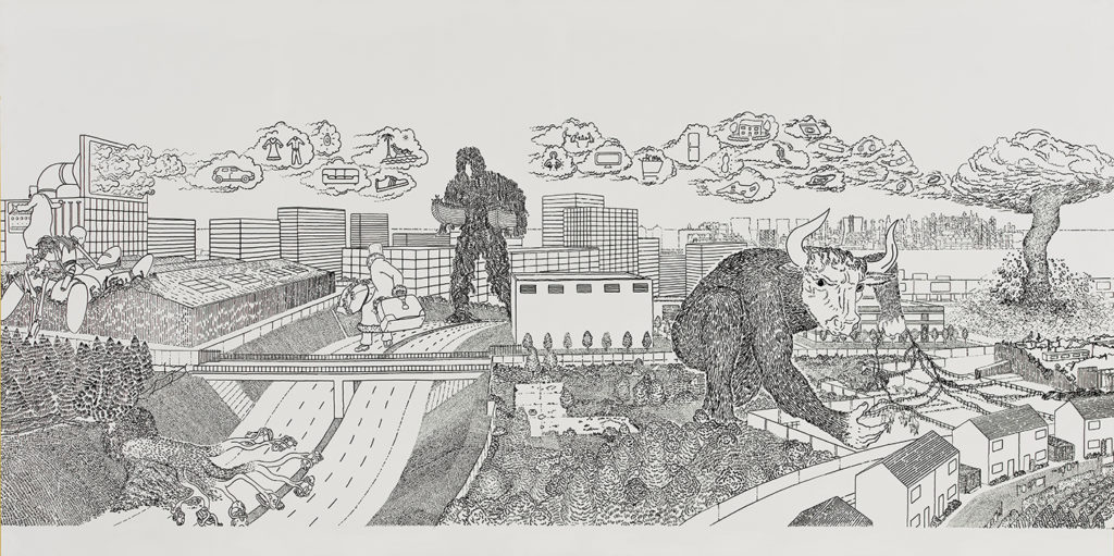 Black and white drawing of robots and mythical creatures