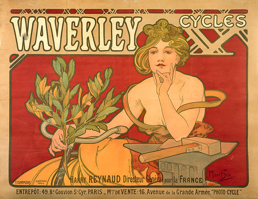 advertisemtent showing illustration of woman on a bicycle, holding a branch of leaves