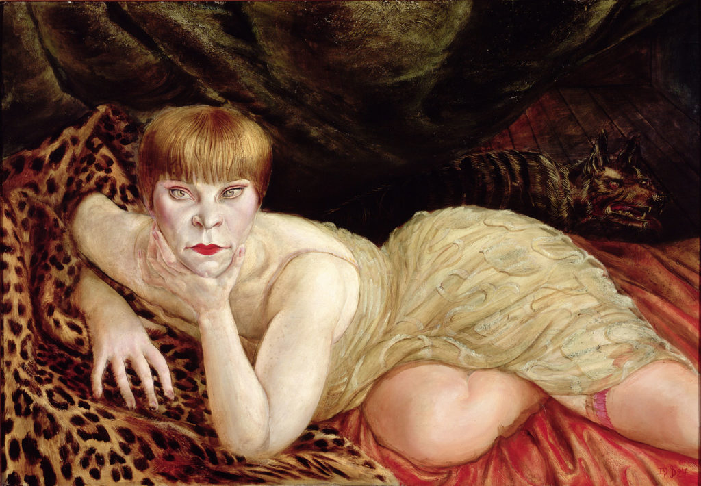painting of woman with cropped hairstle in cream dress reclining on a leopard skin