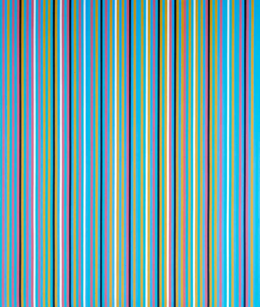painting of a series of multi-coloured evently-spaced vertical stripes in blue, pink, orange, black and white