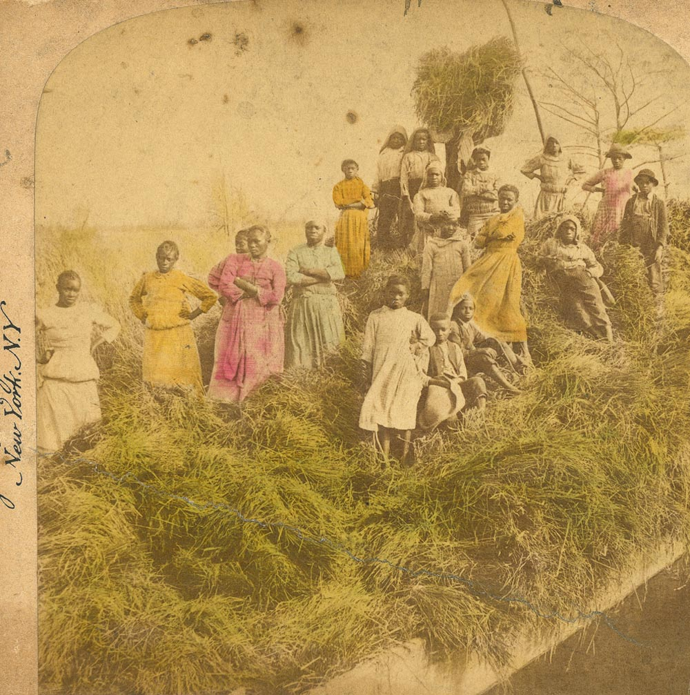 an early colourised photo of a group of African Americans on a barge loaded with crops