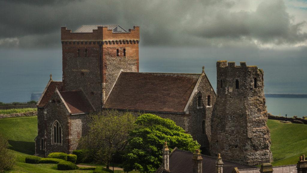 photograph of saxon church and roman lighthouse