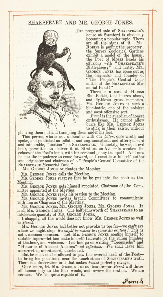 A Punch article with an illustration showing the founder of The People's Central Committee of the Shakespeare Memorial Fund' A Punch cartoon showing Jones as an ape sitting on top of Shakespeare's head.
