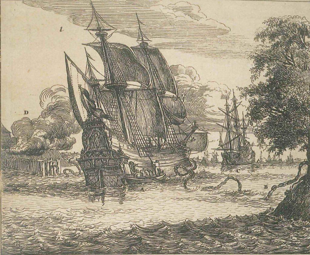 a print showing a ship sailing up a river