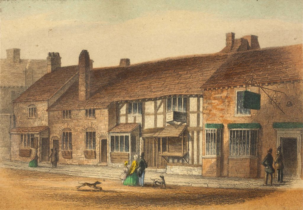 a coloured print of a Shakespeare's timber-framed house