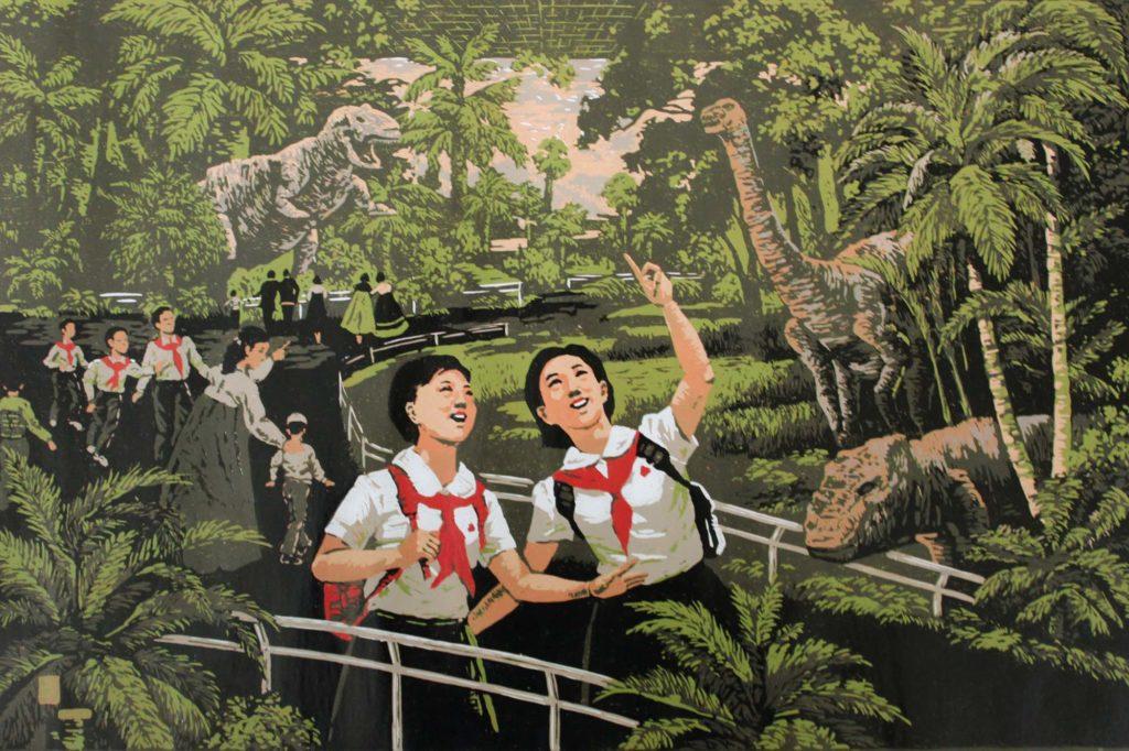 a propaganda artwork showing two North Korean children happily wandering through an indoor dinosaur park