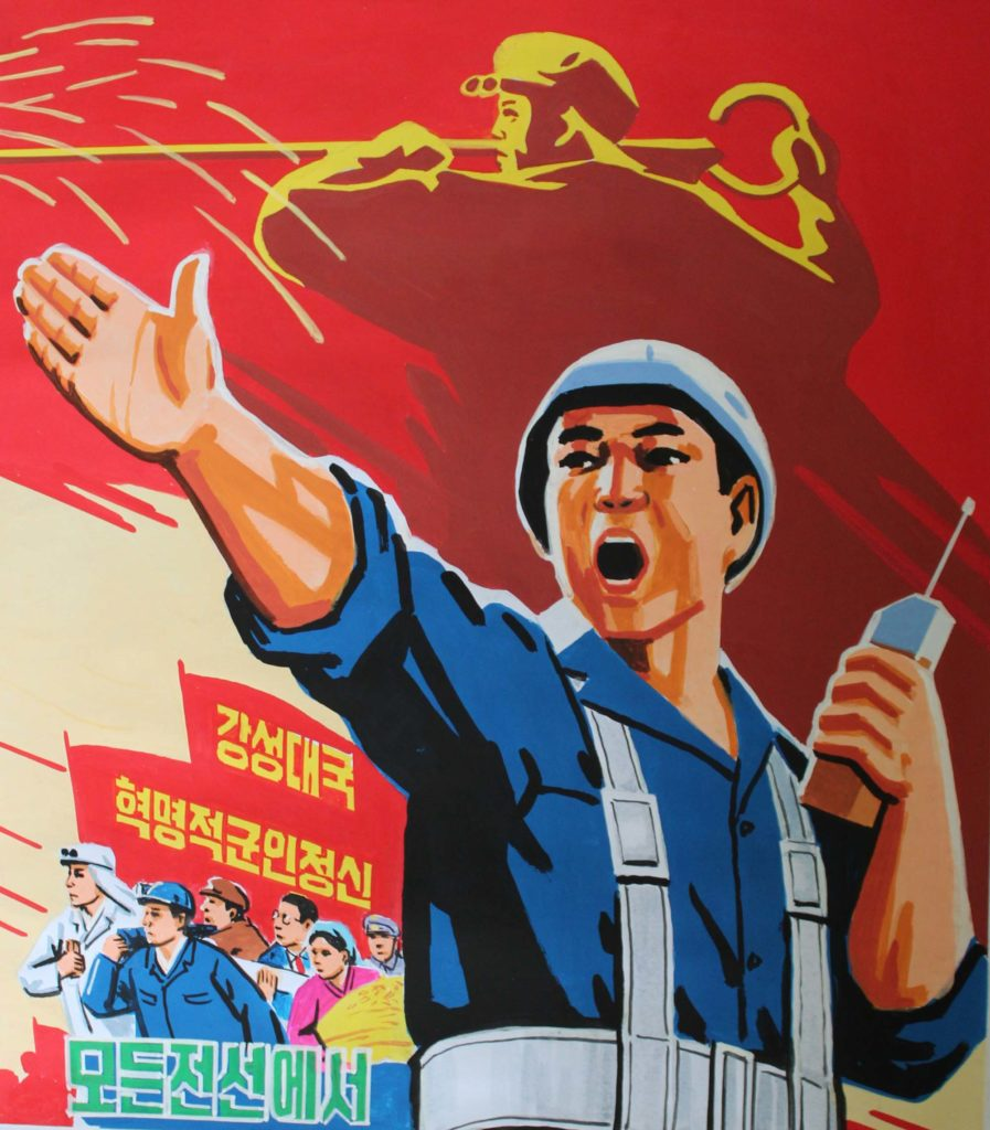 a propaganda poster featuring a construction worker gesticulating