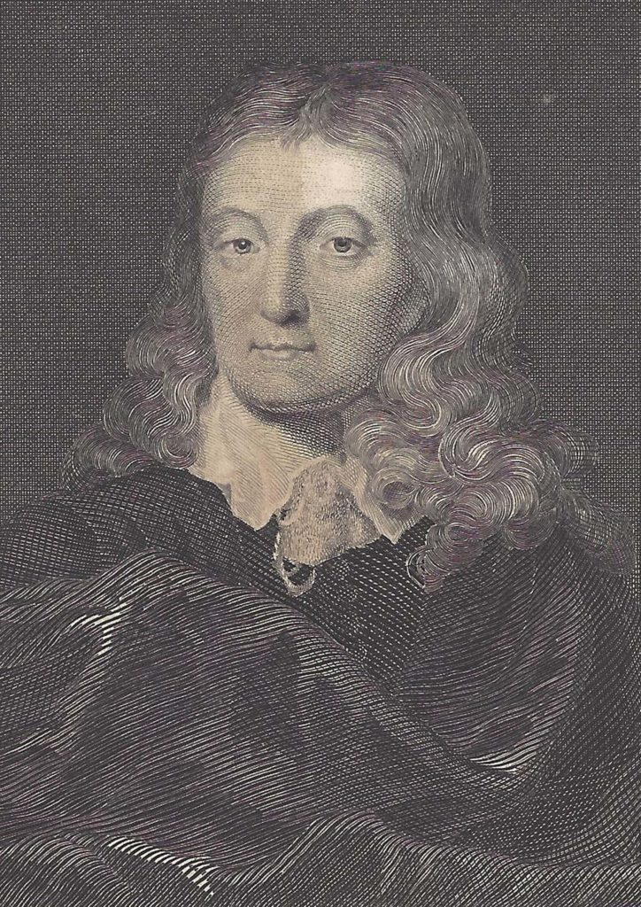 an engraving of John Milton with long hair and ruffled collar