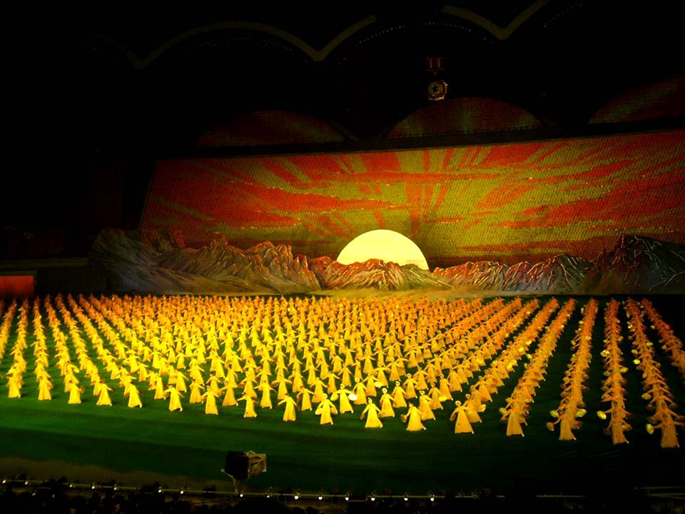 a photo of a mass opera performance in North Korea