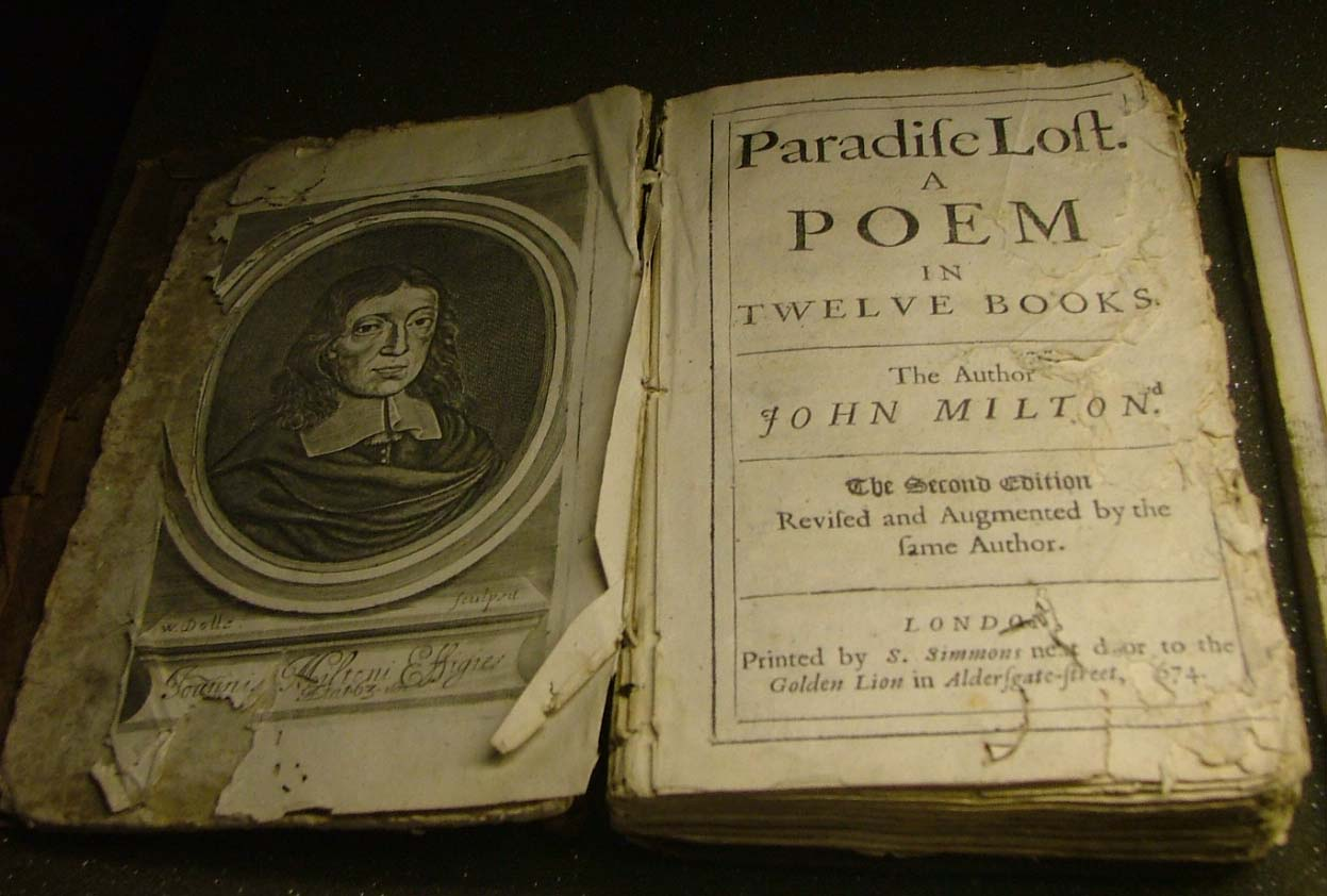 a photo of an open edition of Paradise Lost with John Milton's portrait on it