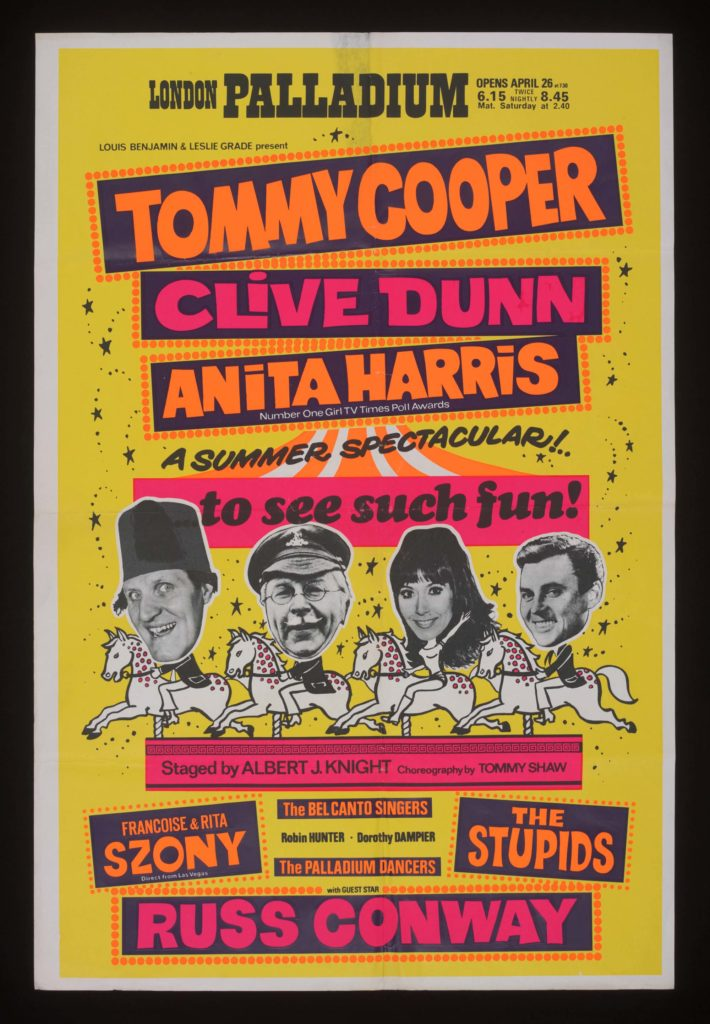 a poster for a show with Tommy Cooper, Clive Dunn and Anita Harris