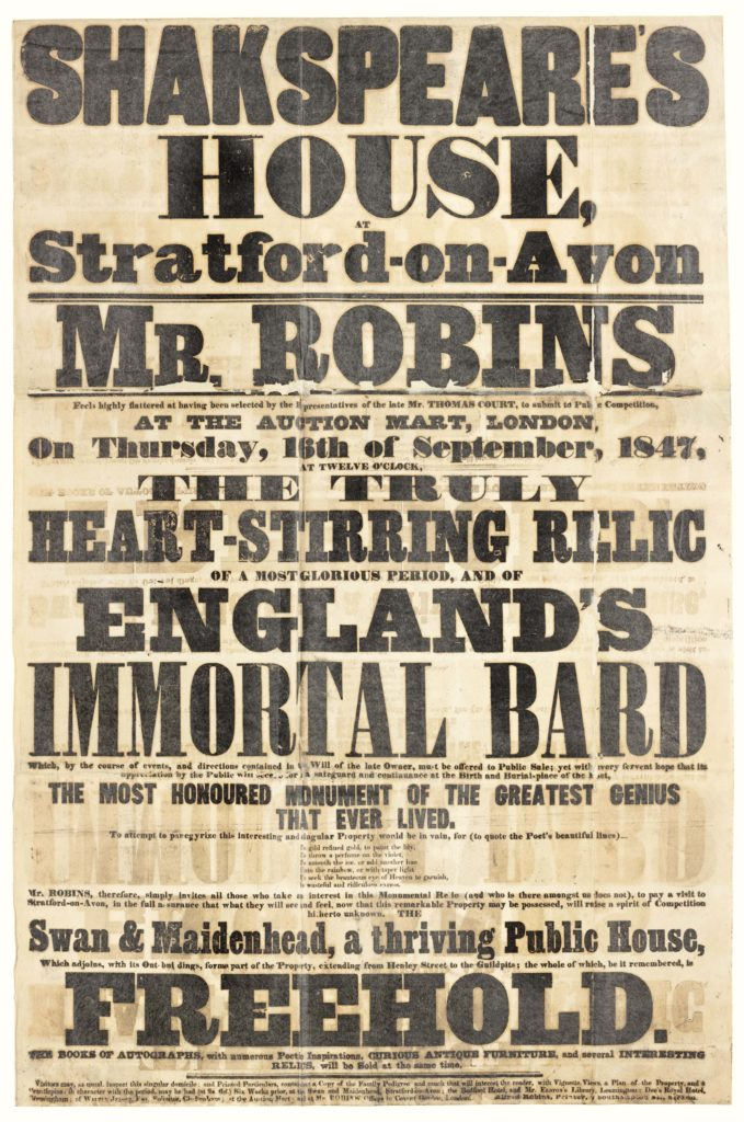 a Victorian bill poster with classic typeface advertising the auction of Shakespeare's Birthplace