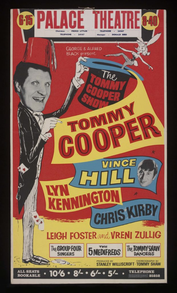 a colourful poster featring Tommy Copper, Vince Hilland othr entertainers from the 1960s