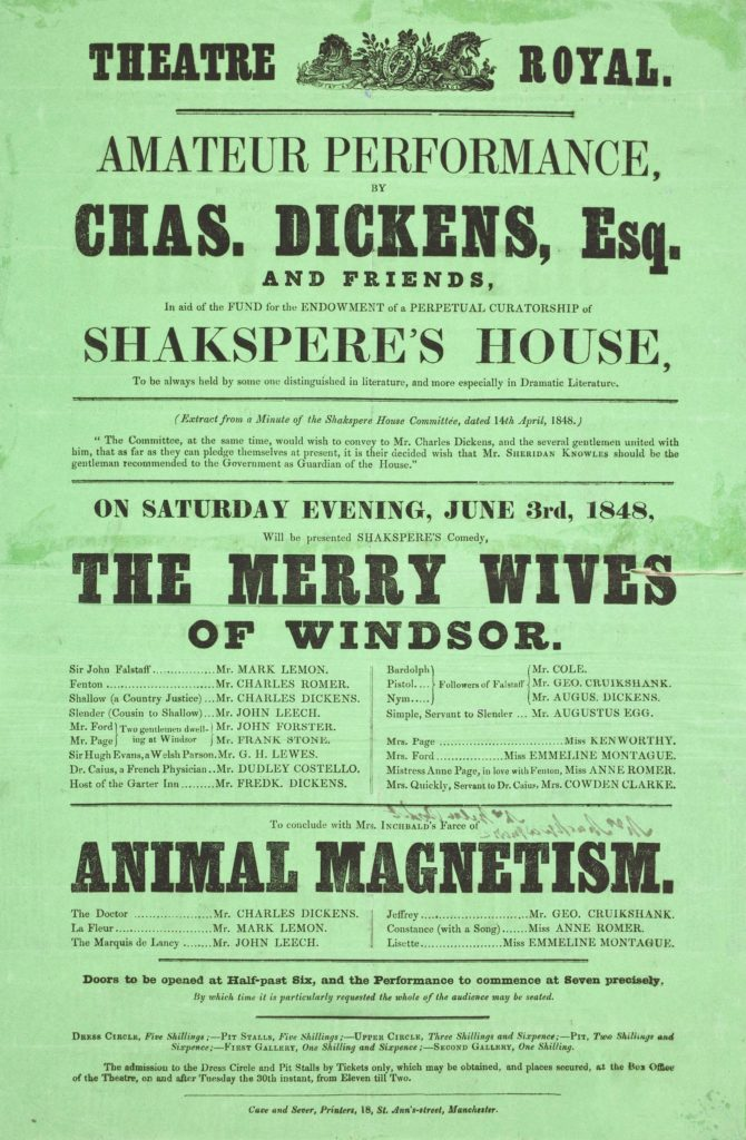 a green playbill with Charles Dickens' name on it