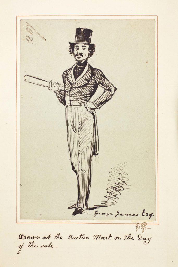 a drawing of a Victorian man in frock coat breeches and small top hat