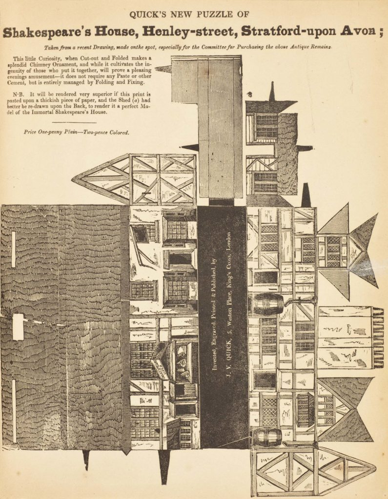 a fold out printed plan of Shakespeare's house designed to be cut out and assmebled