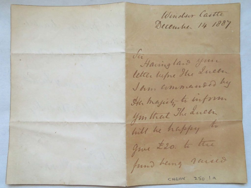 a photonof a handwritten letter with a the Windsor Castle address top left