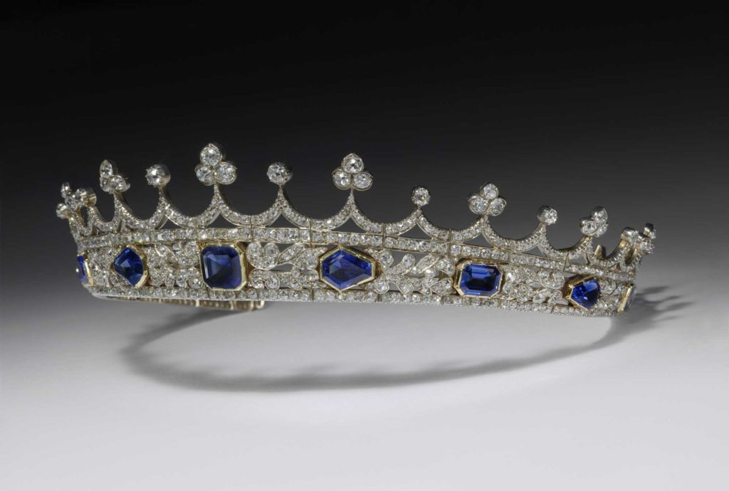 a photo of a coronet with sapphires and diamonds