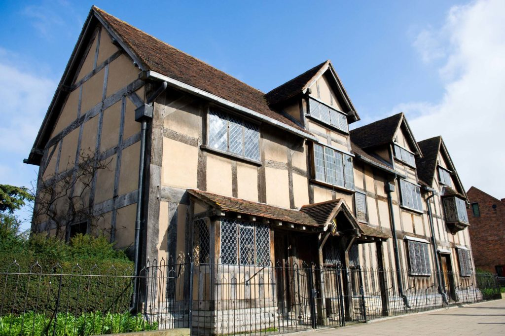 a colour photo of the timber framed Shakespeare's Birthplace