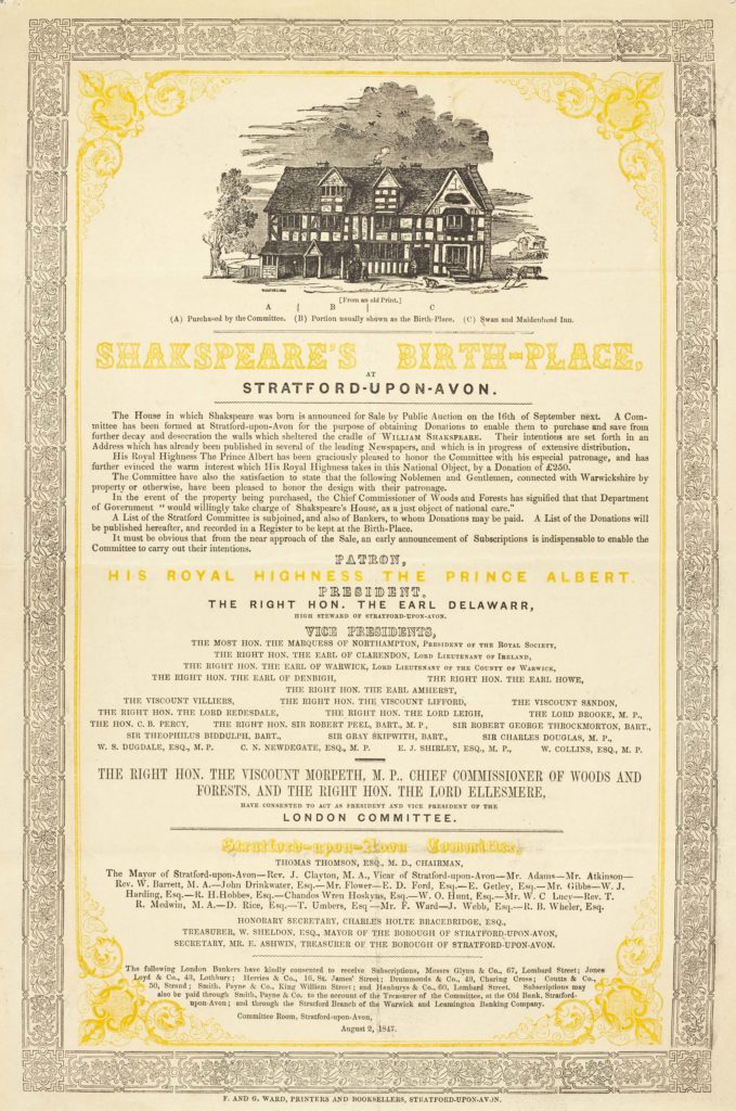 a poster with an illustration of the timber framed Shakespeare's birthplace at the top
