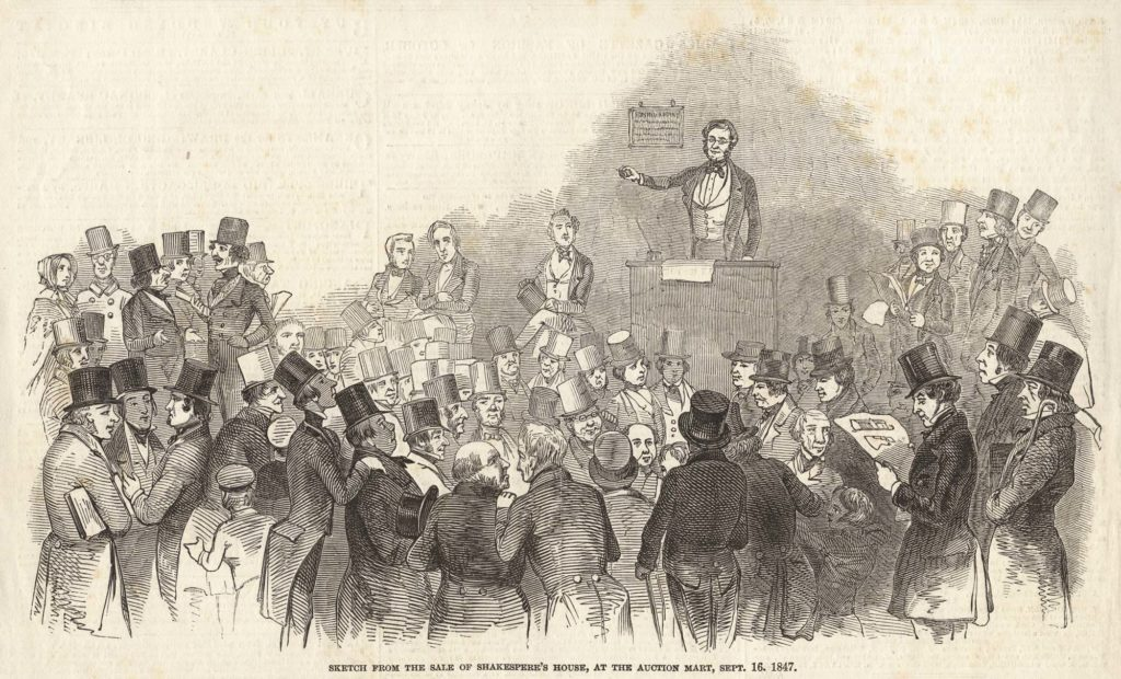 an period drawing showing a Victorian auction scene