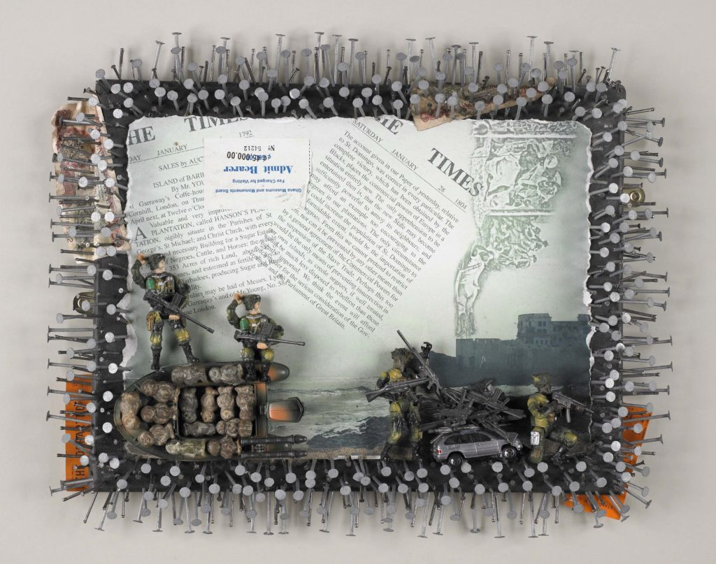 an artwork featuring documents surrounded by nails