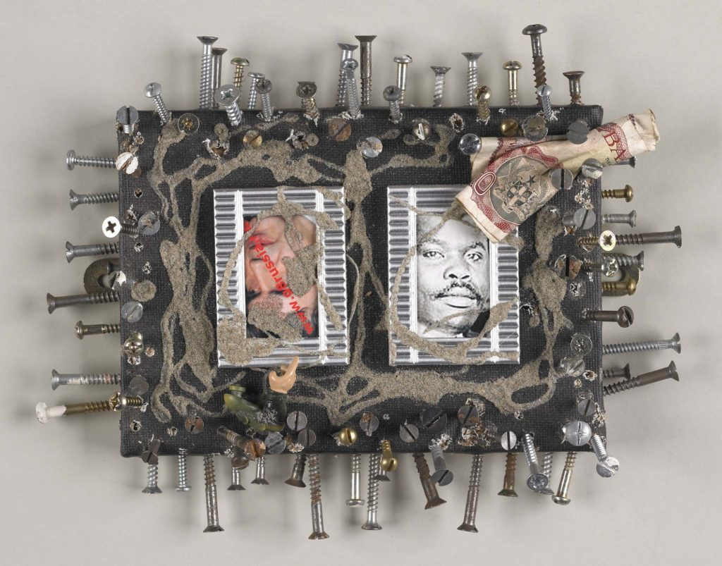 an artwork with central images and a frame of nails