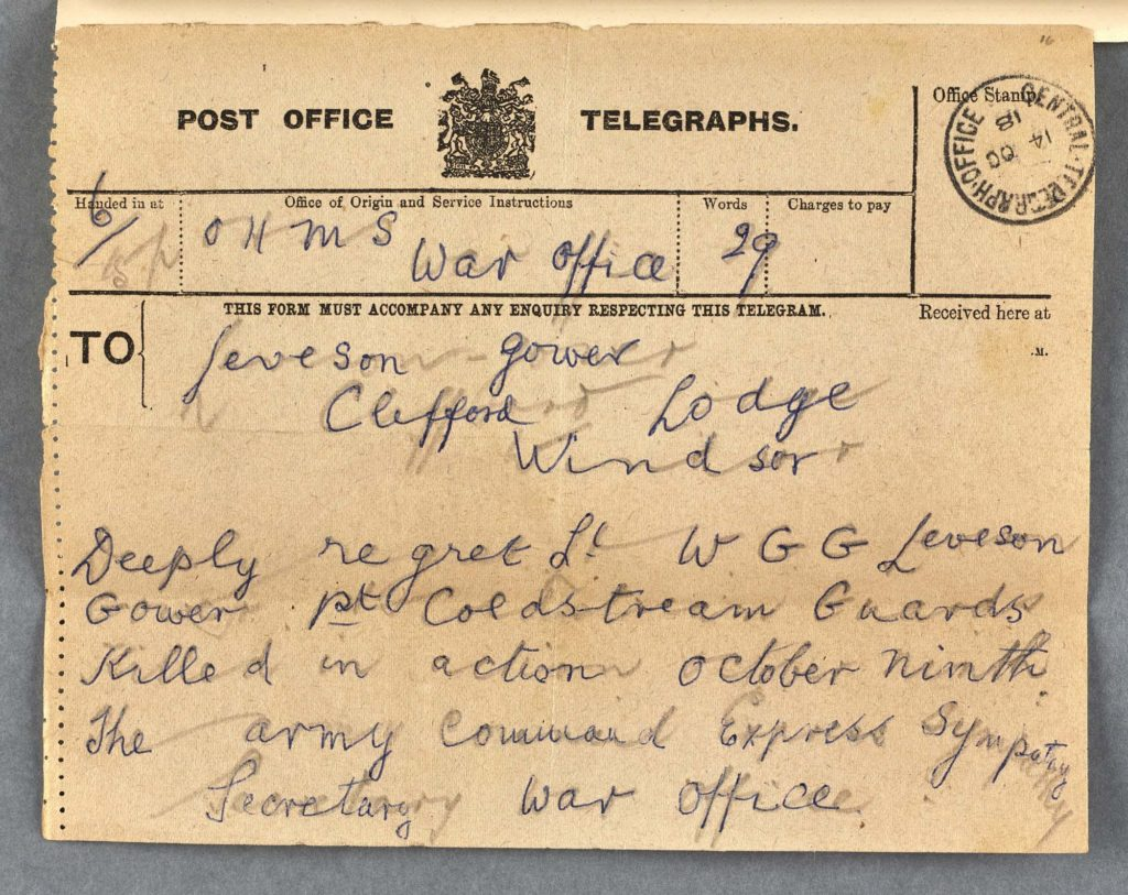 a telegram with a scrawled note saying a person has been killed in action