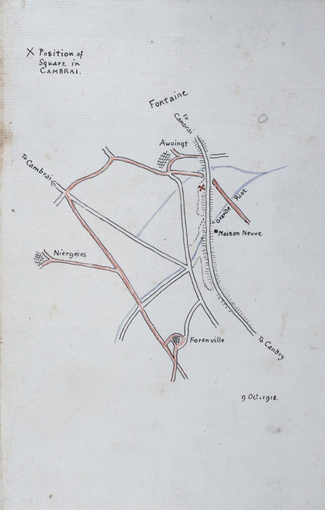 a simple hand drwan map showing trench systems