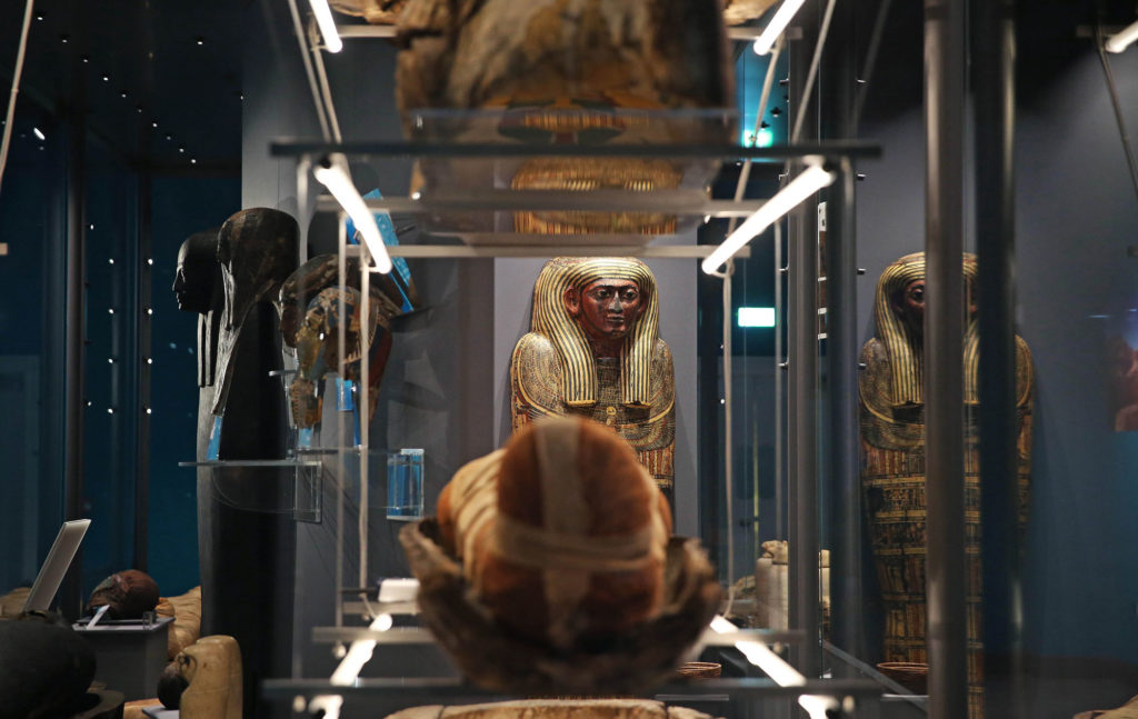 photograph of interior of ancient egypt museum gallery showing mummy and sarcophagus
