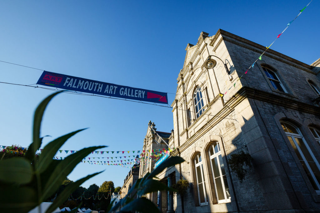 photograph of exterior of falmouth art gallery with banner and bunting