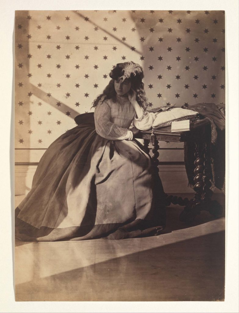 a photograph of a young seated Victorian woman wearing a feathered bonnet in side profile in a room