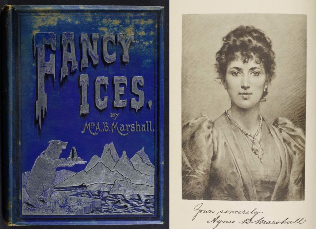 a photo of a book cover called Fancy Ices with polar bear carrying a desert on a platter and frontispiece portrait of a handsome Victorian woman