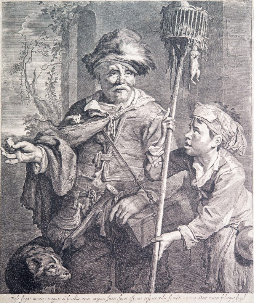 an engraving boy and a man with a pole with rats hanging off it