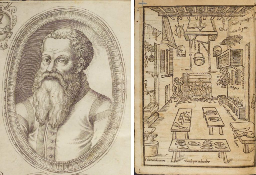 a frotispiece of a beared man and an illustration of a medieval kitchen