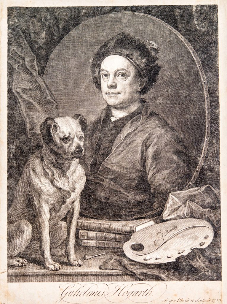 an egraved portrait of man with a dog