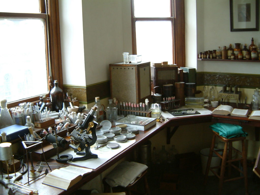 photograph of 1920s science lab