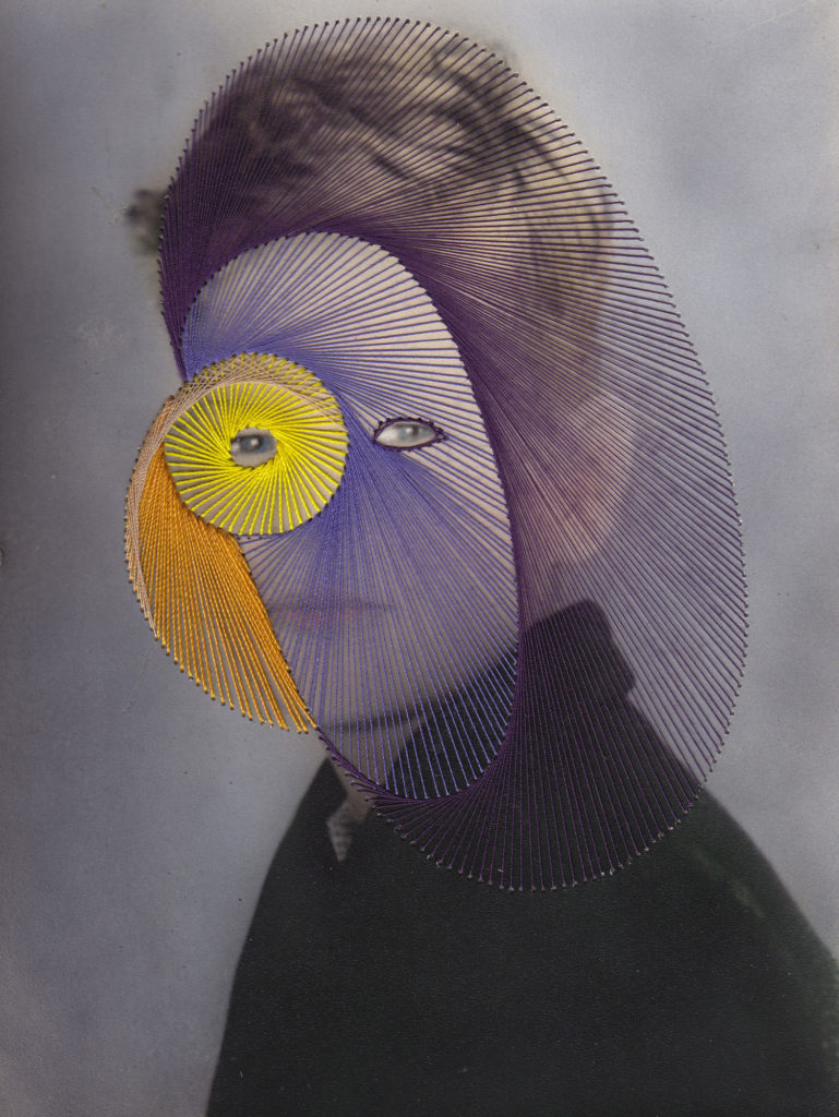 school photographic portrait embroidered with abstract shapes in yellow, orange and purple
