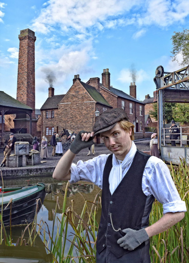 photogrpah of the buildings at black country livingh museum, with costumed characters