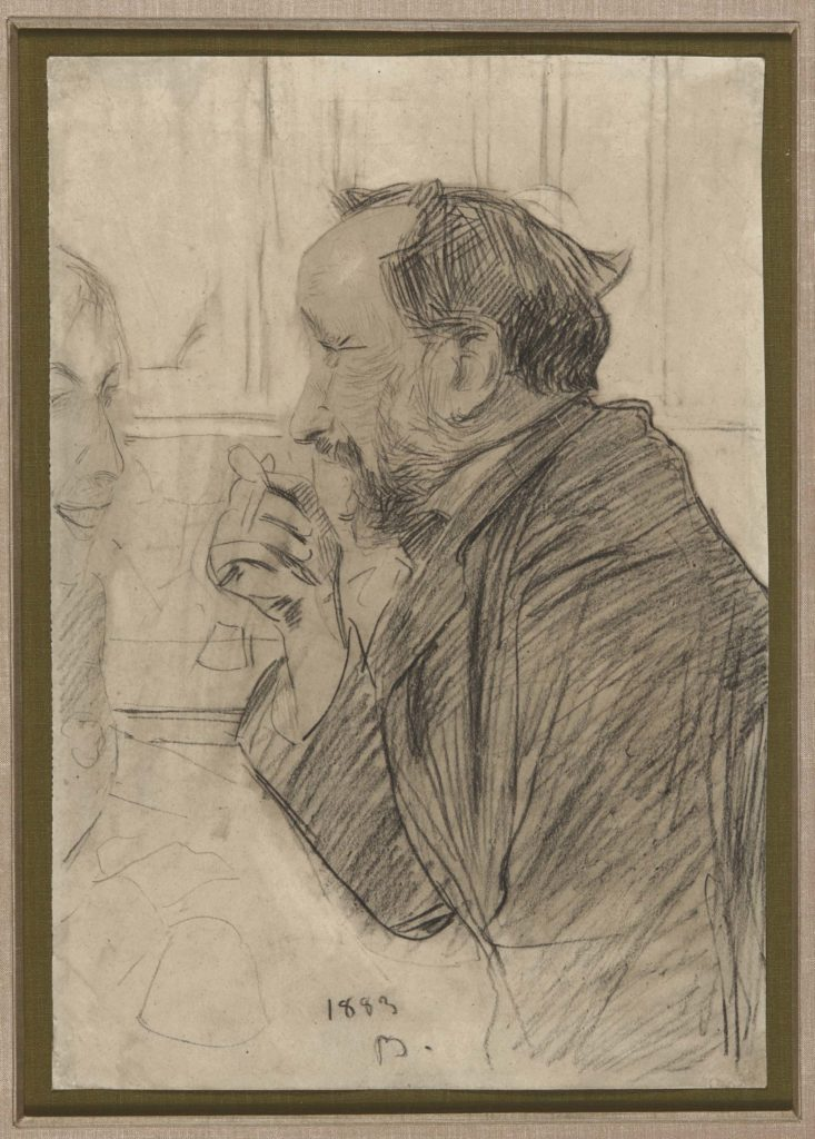 a sketch of a man (Degas) in ide profile with had raised to his chin