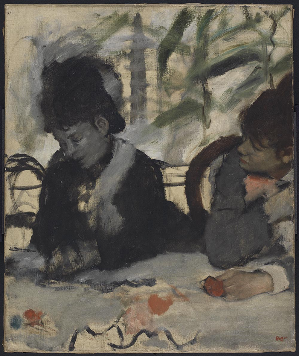 A Degas oil of women at a cafe table