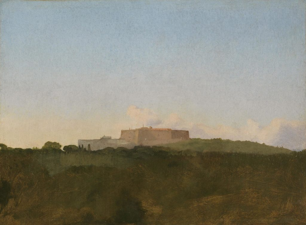a Degas watercolour of an old building or citadel seen across a landscape towards a hill