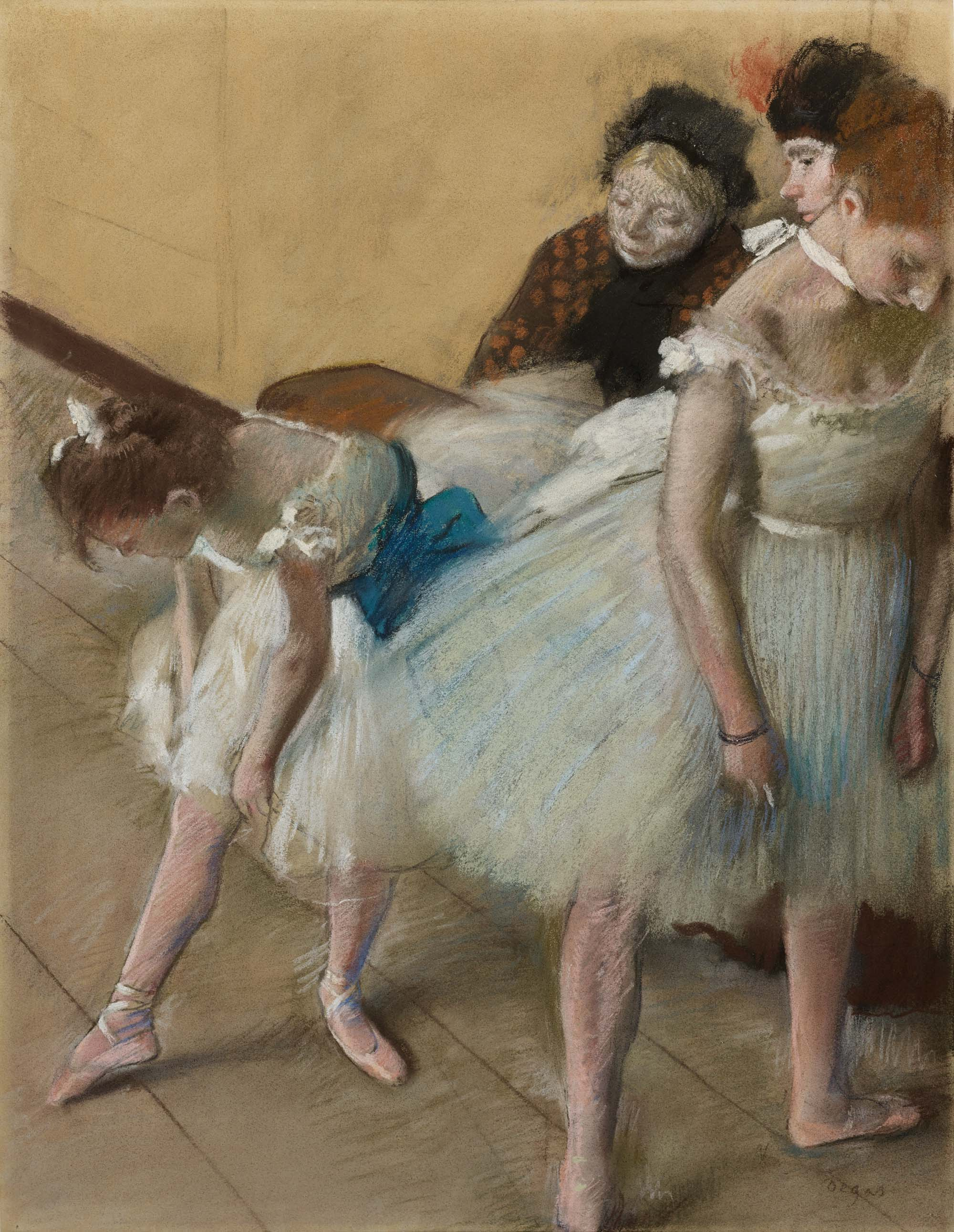 A Degas pastel showing young female dancers in tutus
