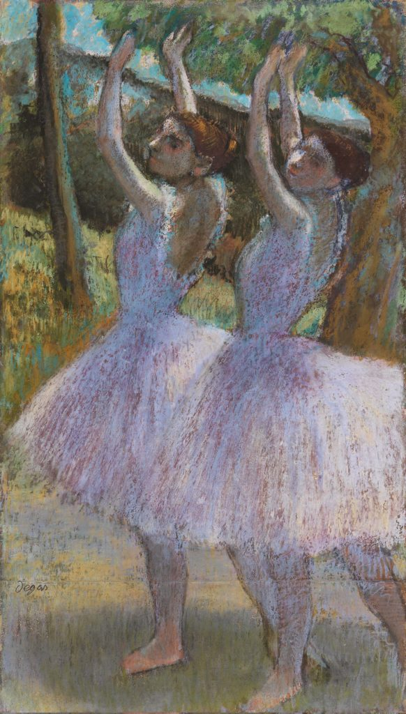 a Degas colour sketch of two dancers reaching upwards in tutus